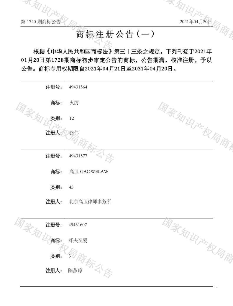 高卫 GAOWELAW商标注册公告(一)