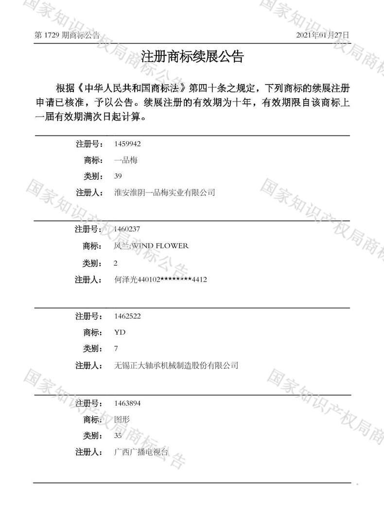 风兰;WIND FLOWER注册商标续展公告
