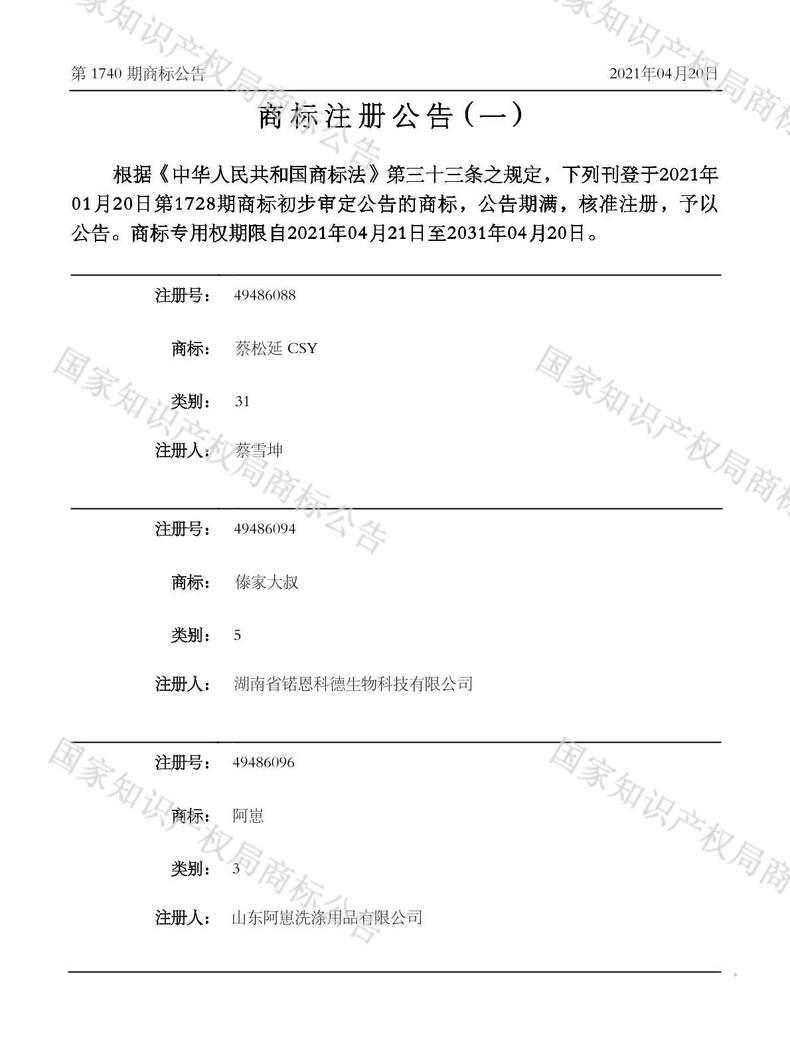 蔡松延 CSY商标注册公告(一)