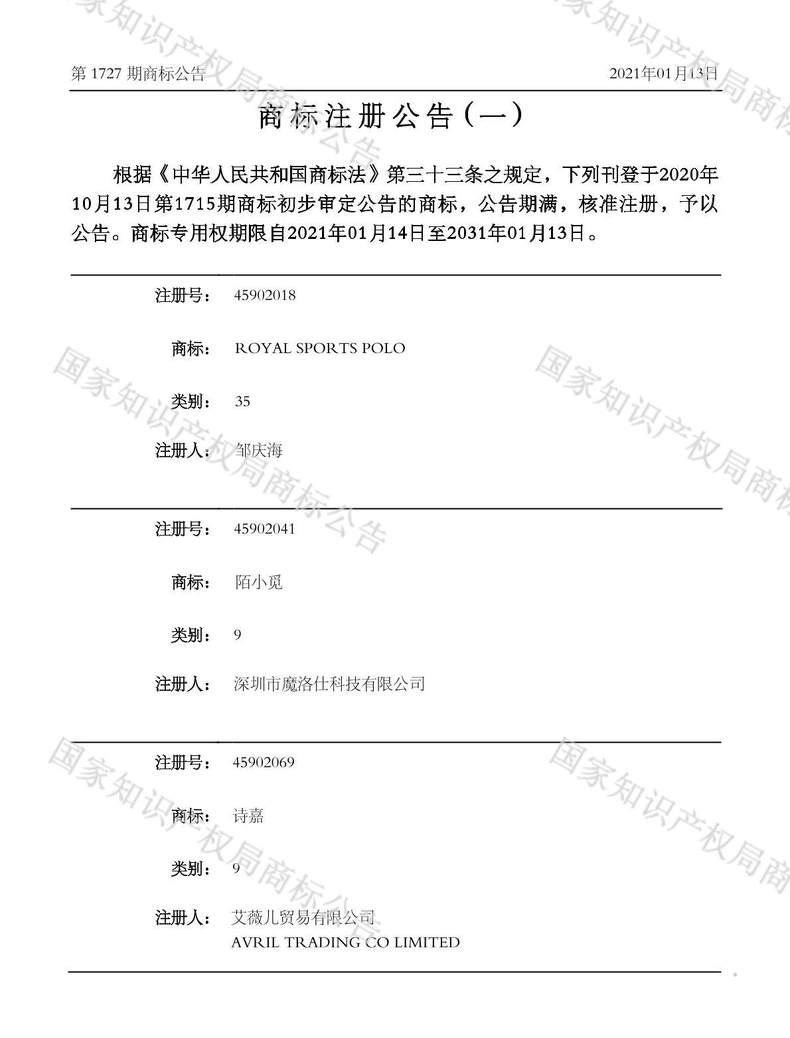 诗嘉商标注册公告(一)