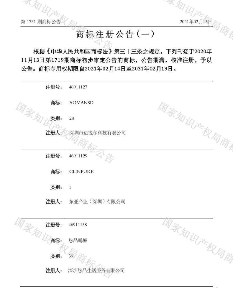 悠品鹏城商标注册公告(一)