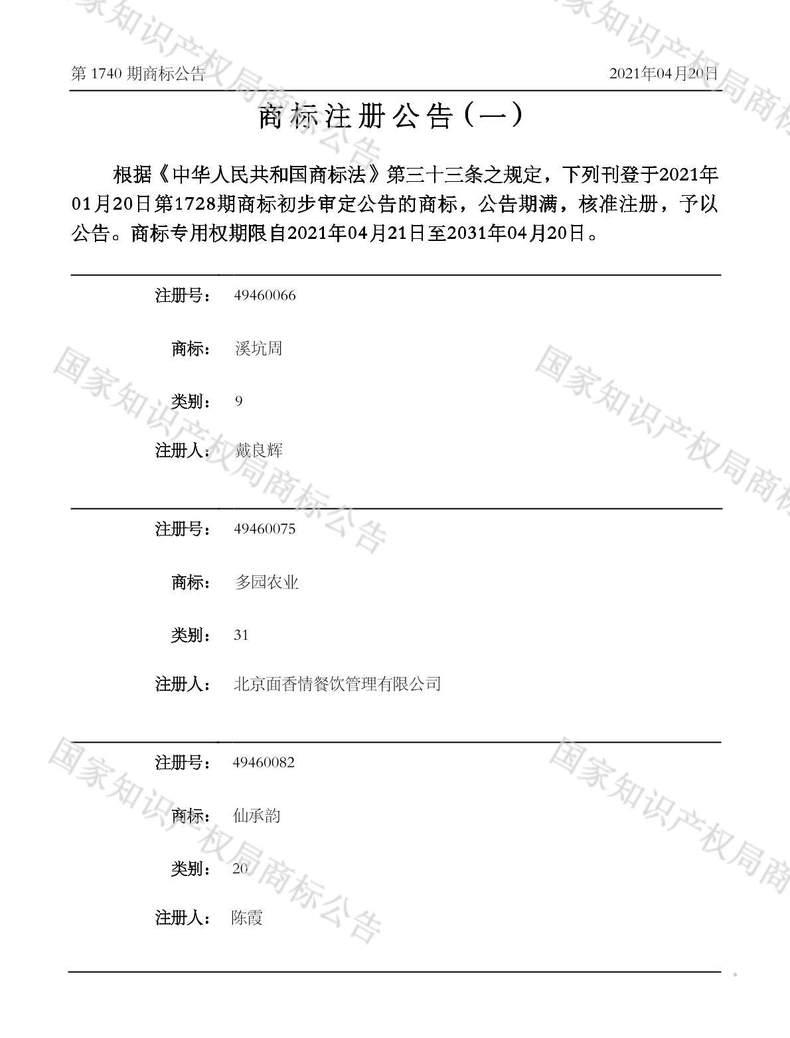 多园农业商标注册公告(一)