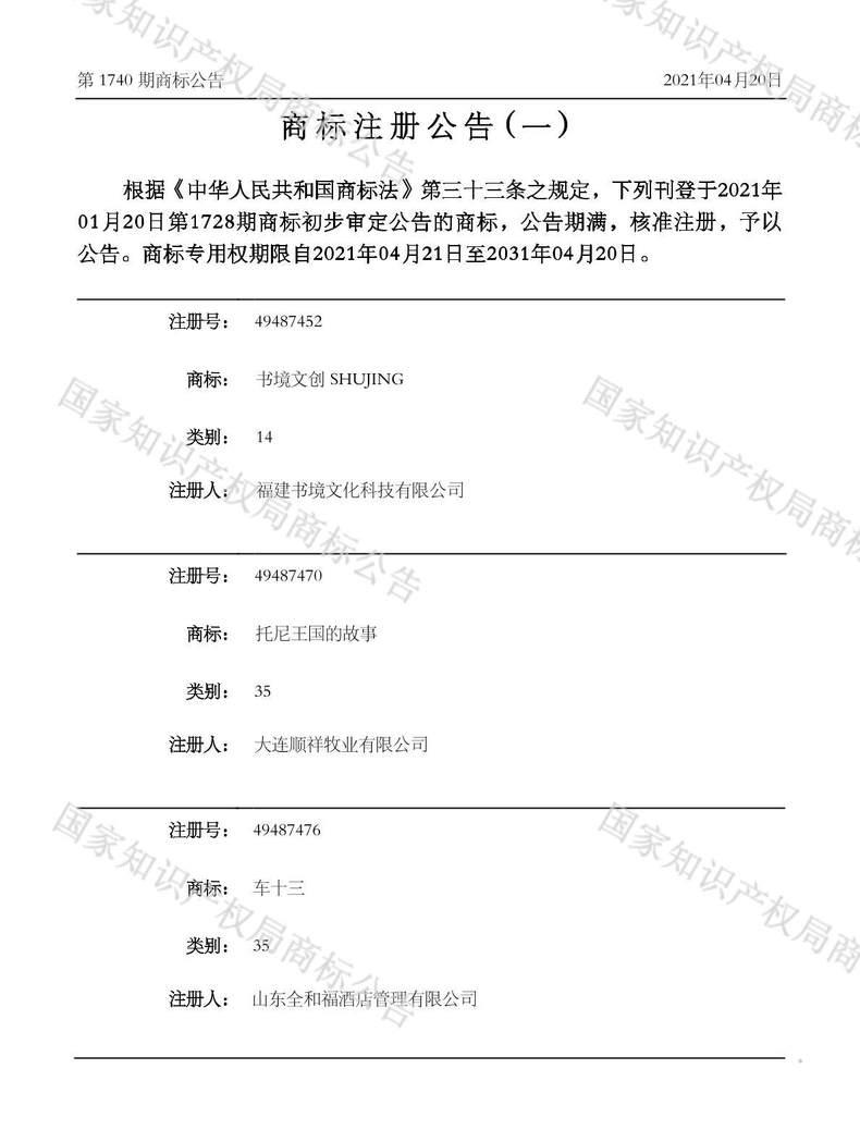 托尼王国的故事商标注册公告(一)