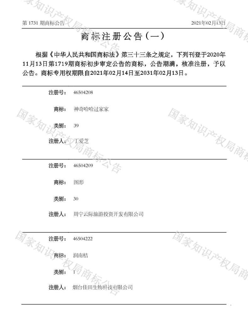 图形46504209商标注册公告(一)