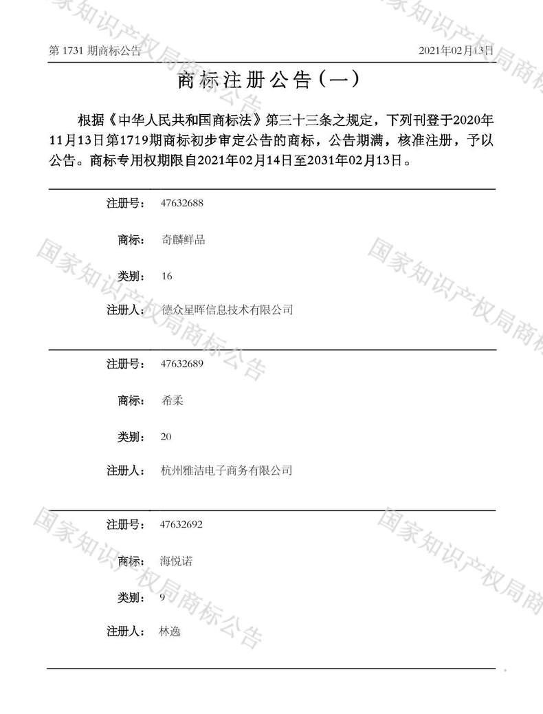 奇麟鲜品商标注册公告(一)