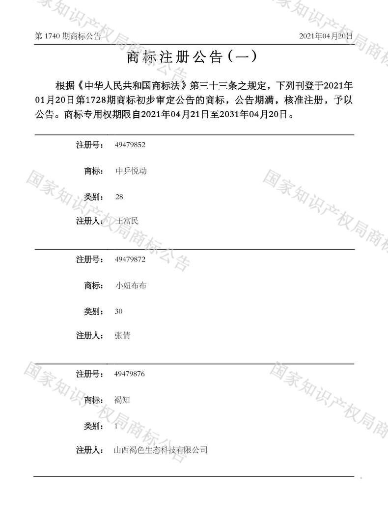 中乒悦动商标注册公告(一)