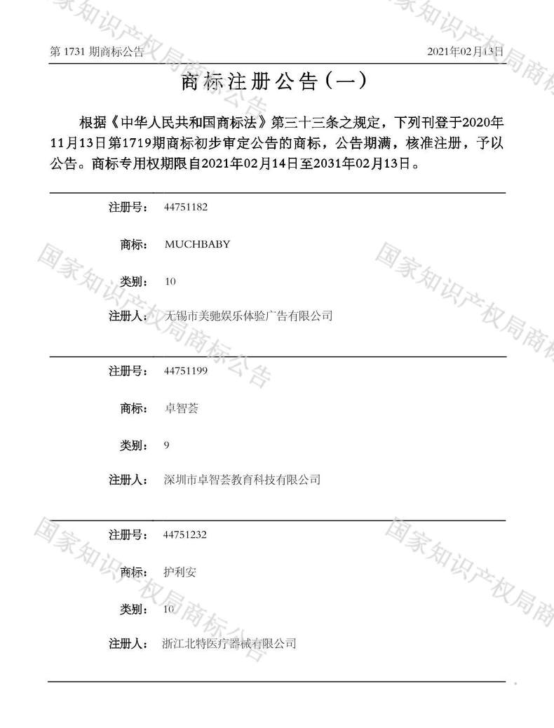 护利安商标注册公告(一)