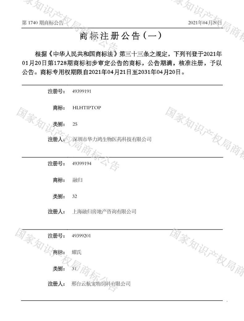 耀氏商标注册公告(一)