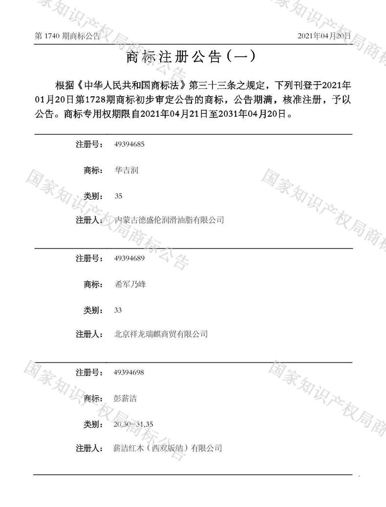 华吉润商标注册公告(一)