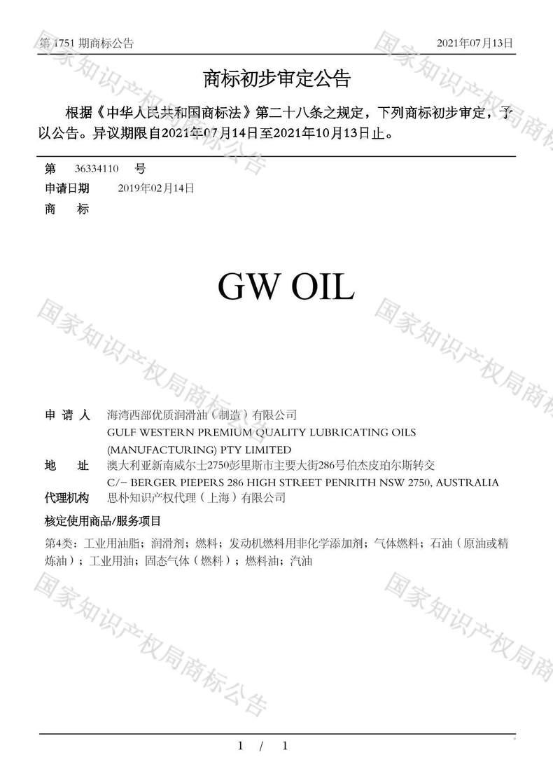 GW OIL商标初步审定公告