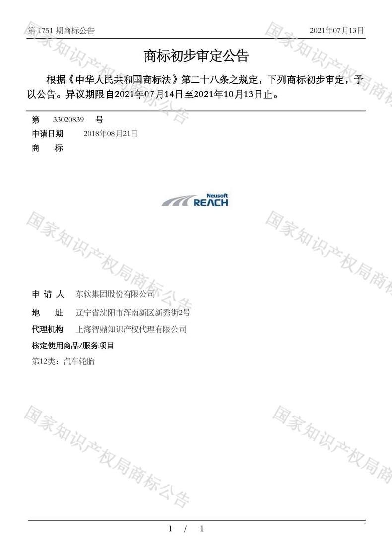 REACH NEUSOFT商标初步审定公告