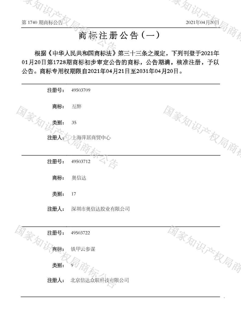 互醉商标注册公告(一)