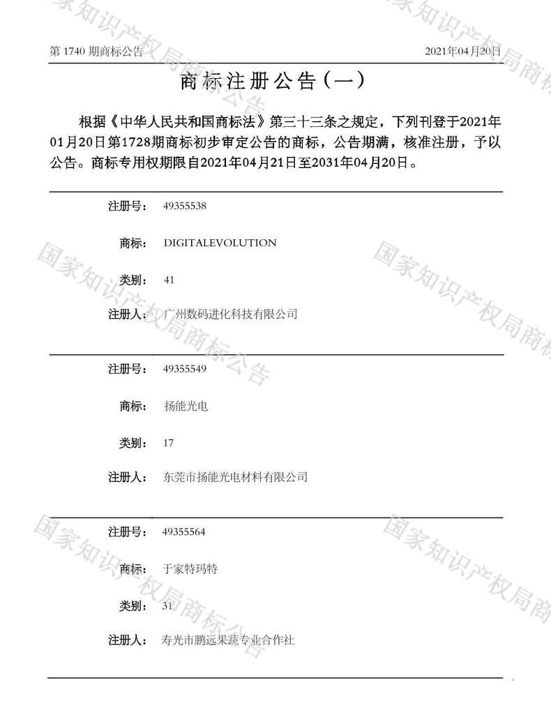 DIGITALEVOLUTION商标注册公告(一)