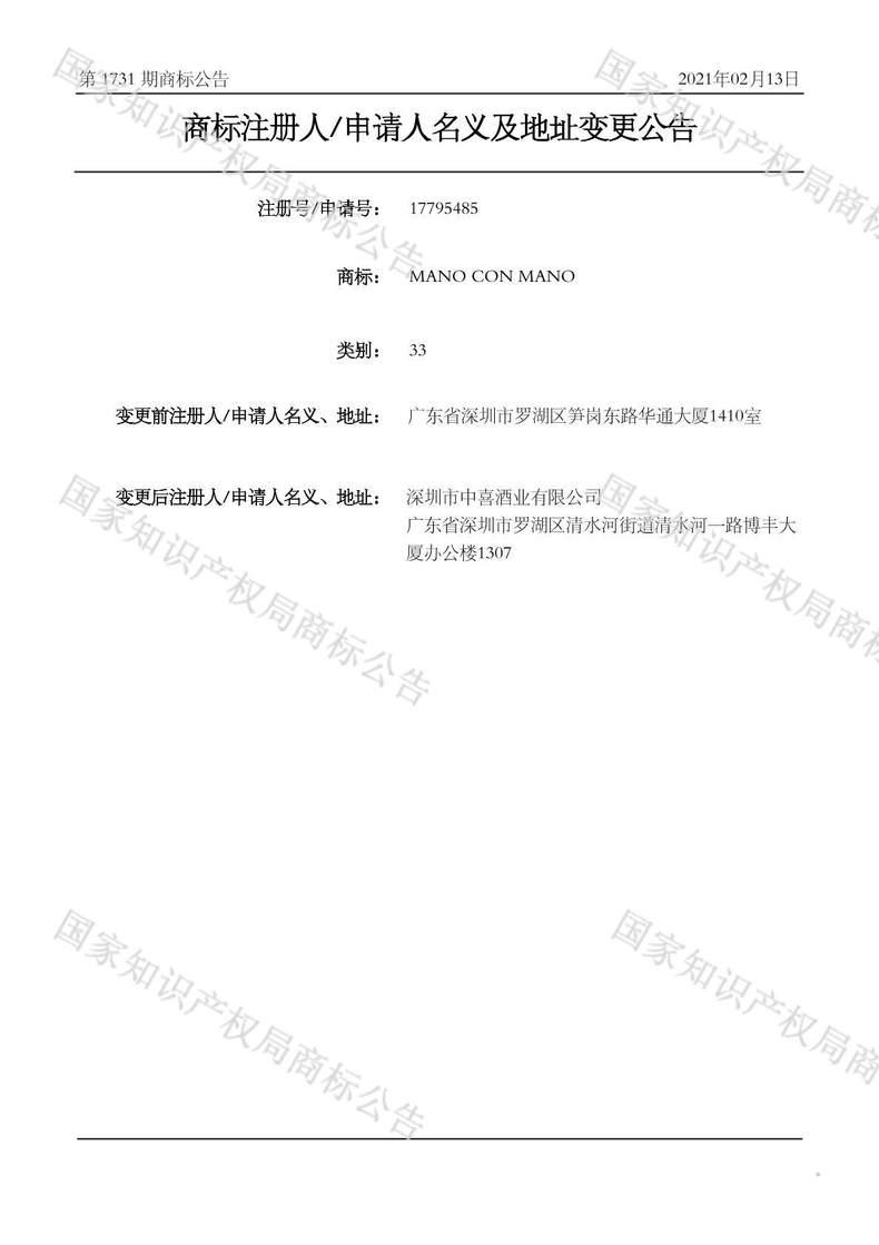 MANO CON MANO商标注册人/申请人名义及地址变更公告