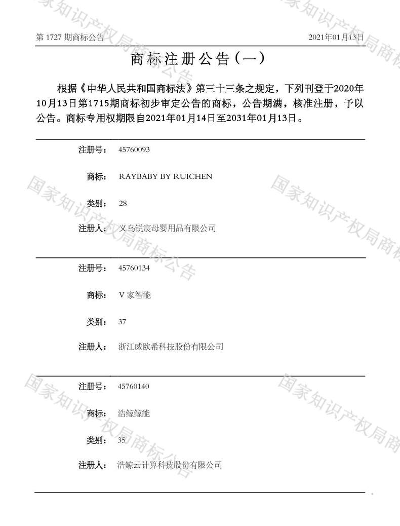 RAYBABY BY RUICHEN商标注册公告(一)