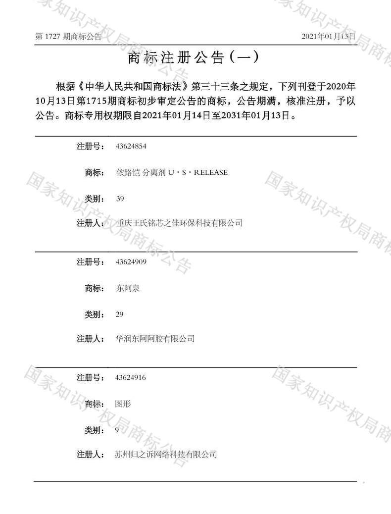 东阿泉商标注册公告(一)