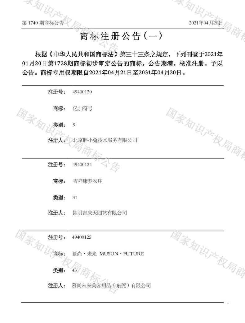 吉祥康养农庄商标注册公告(一)