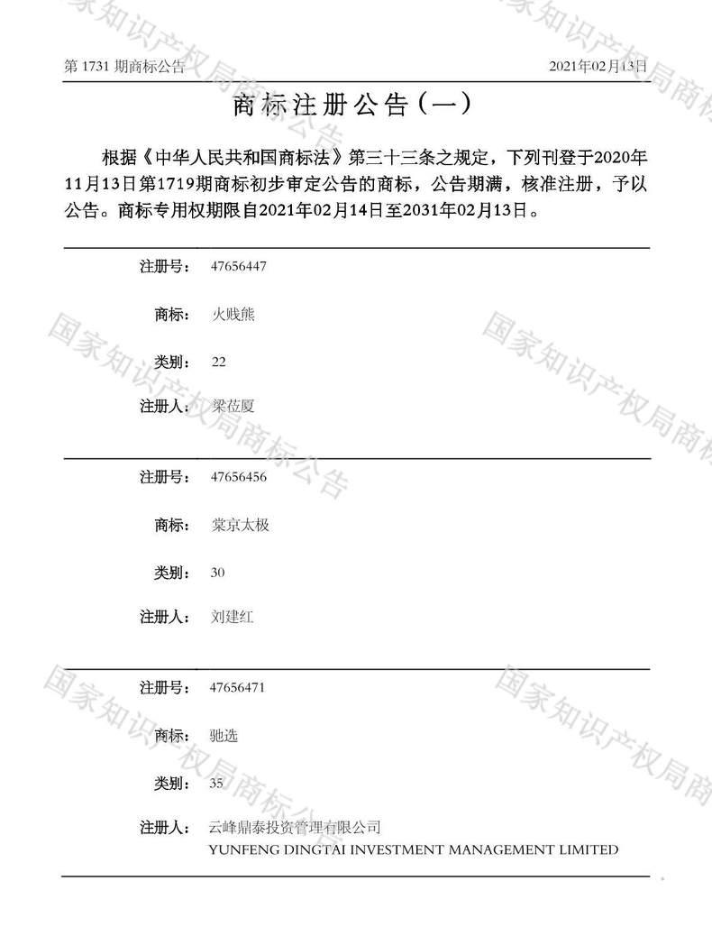 驰选商标注册公告(一)