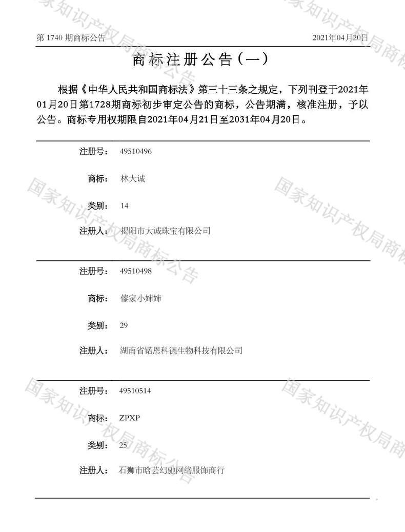 林大诚商标注册公告(一)