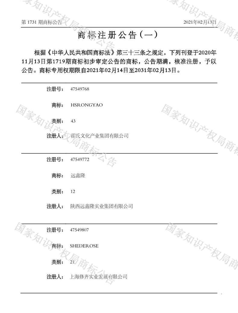 HSRONGYAO商标注册公告(一)
