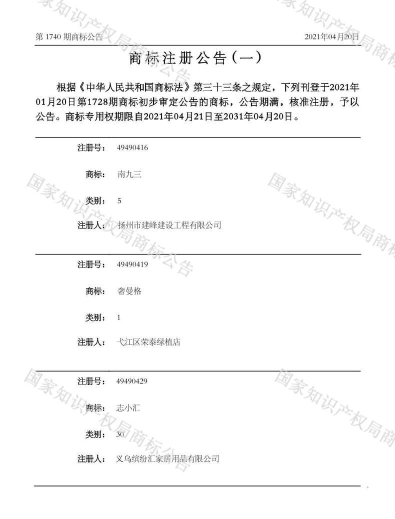 南九三商标注册公告(一)