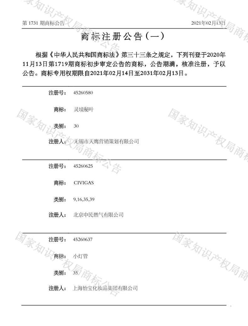 CIVIGAS商标注册公告(一)