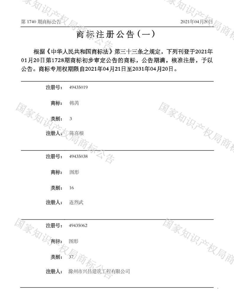 韩芮商标注册公告(一)