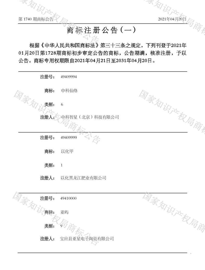 中科仙络商标注册公告(一)