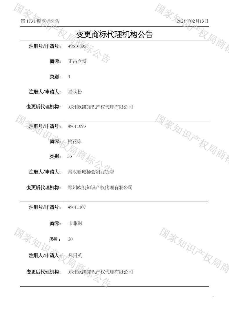桃花咏变更商标代理机构公告