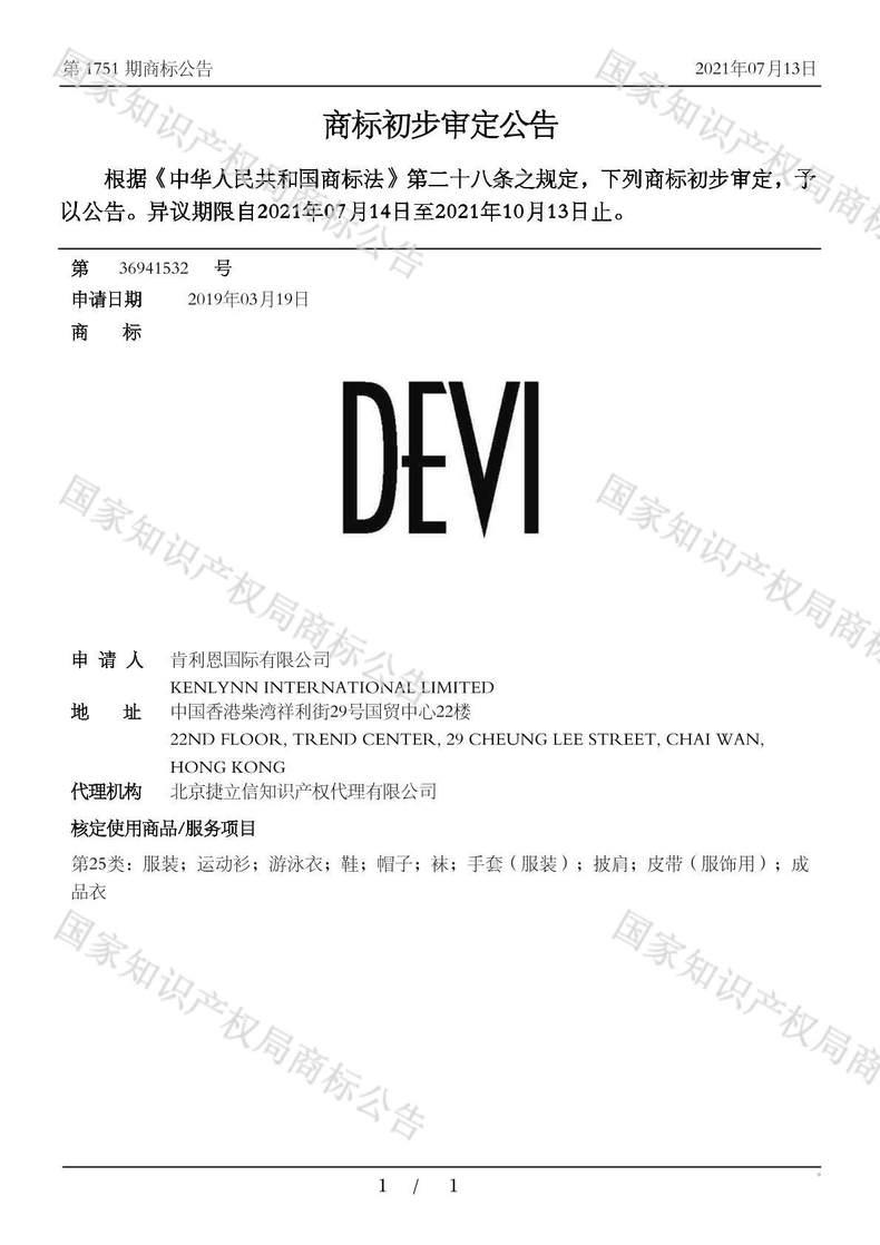 DEVI商标初步审定公告