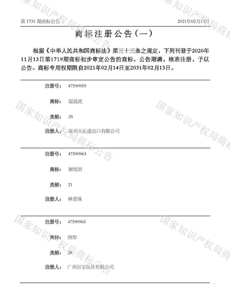 混混虎商标注册公告(一)