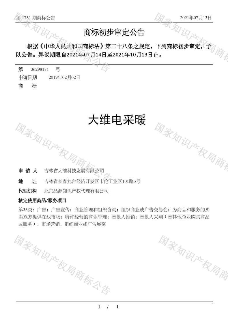 大维电采暖商标初步审定公告