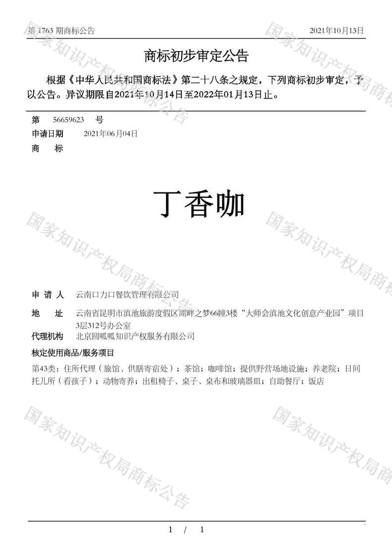 丁香咖商标初步审定公告