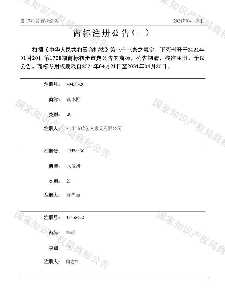 靓木匠商标注册公告(一)