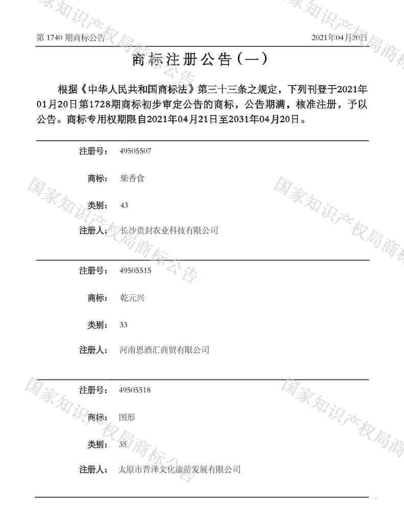 柴香食商标注册公告(一)