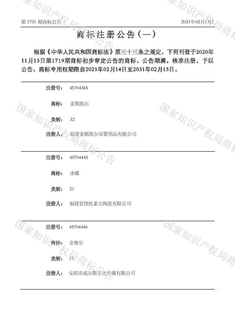 金堡尔商标注册公告(一)