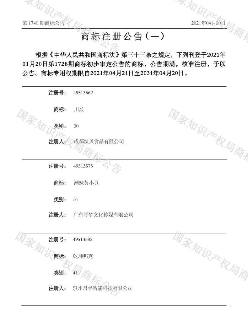 潮妹黄小豆商标注册公告(一)