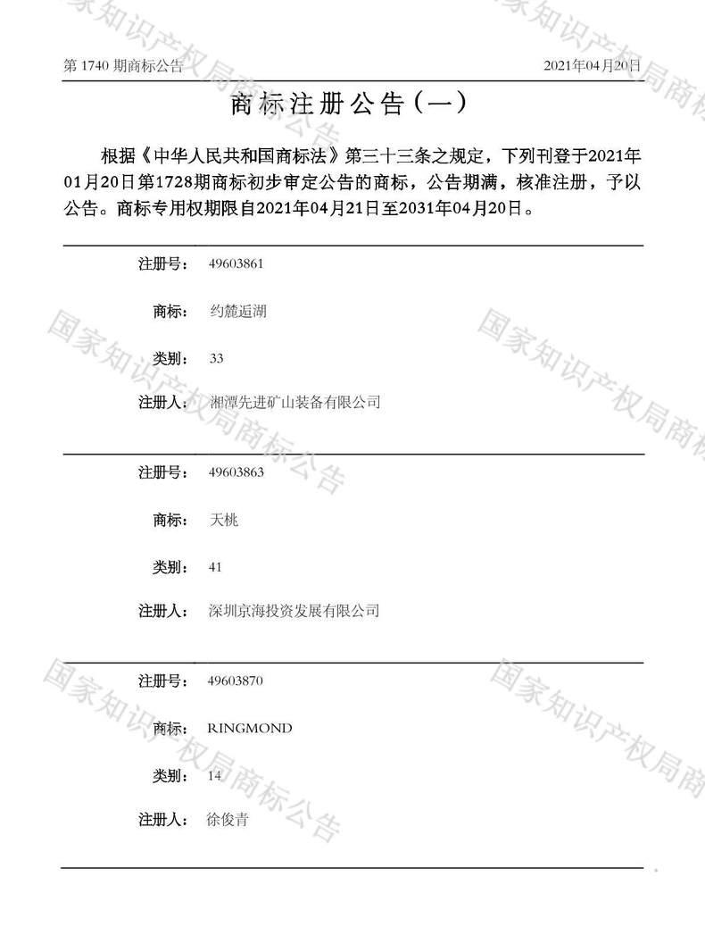 天桃商标注册公告(一)