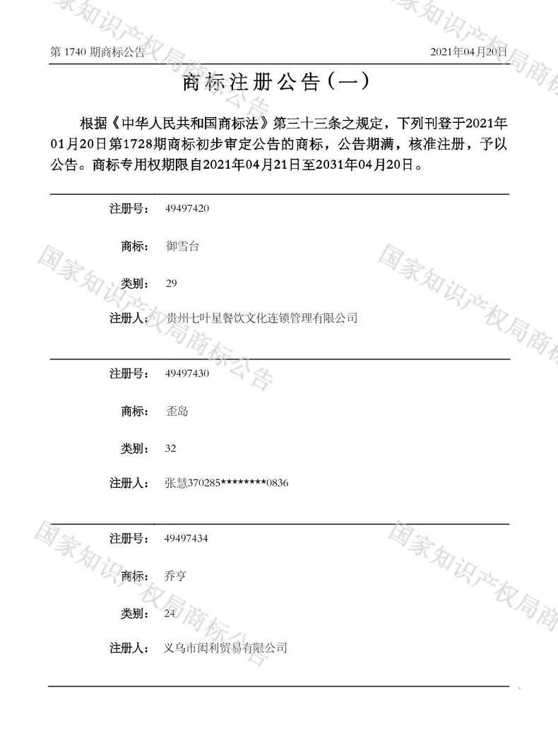 御雪台商标注册公告(一)