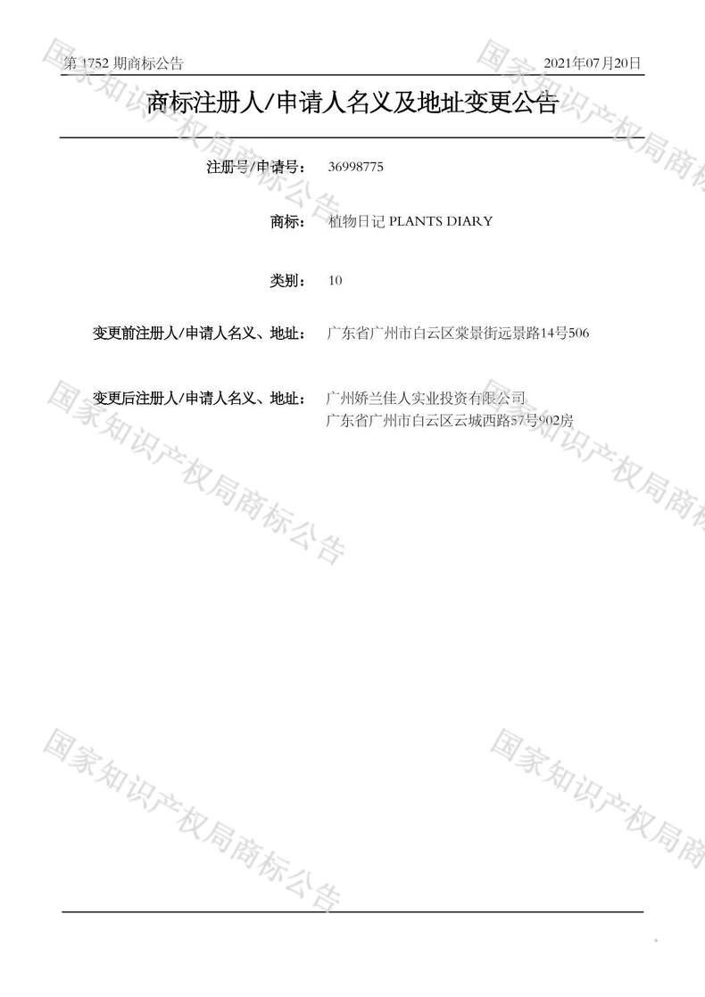 植物日记 PLANTS DIARY商标注册人/申请人名义及地址变更公告