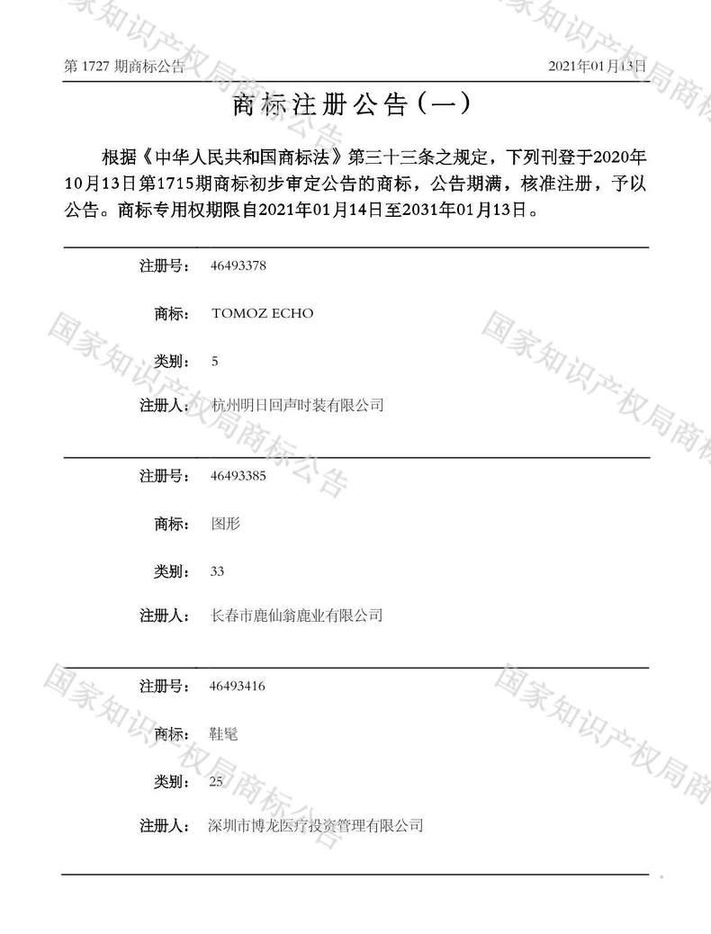 鞋髦商标注册公告(一)