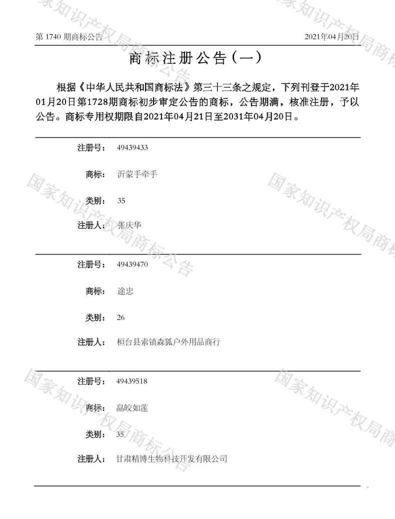 沂蒙手牵手商标注册公告(一)