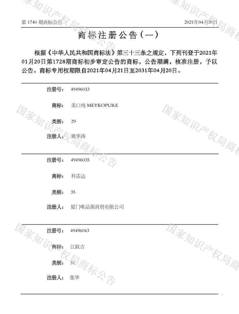 江跃吉商标注册公告(一)
