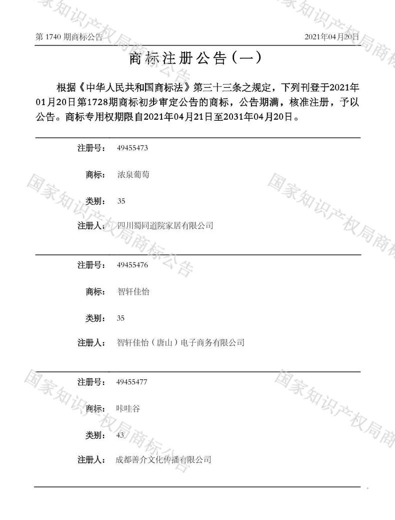 咔哇谷商标注册公告(一)