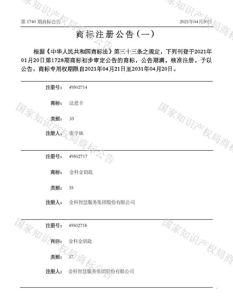 金科金钥匙商标注册公告(一)