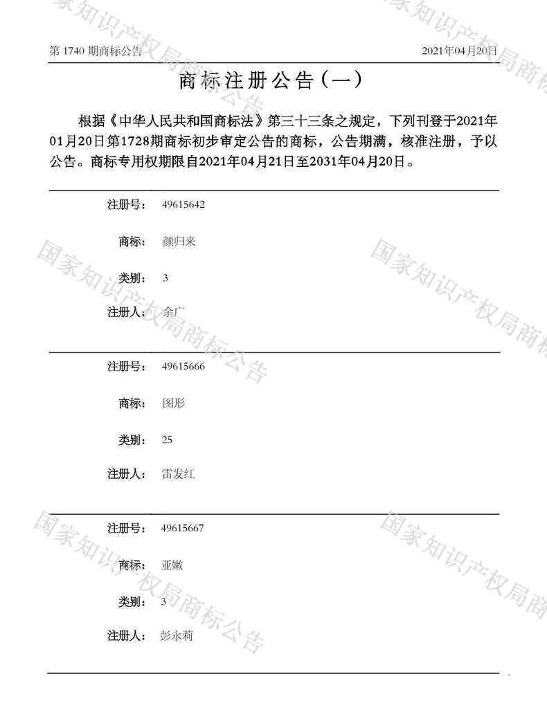 亚嫩商标注册公告(一)